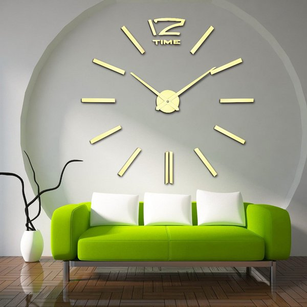 Wholesale- 2016 New Arrival 3D Home Decor Quartz DIY Wall Clock Large Clocks Horloge Watch Living Room Metal Acrylic Mirror 20 inch