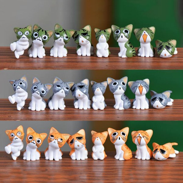 8pcs Cheese Cat Crafts Small Forest Fairy Garden Miniatures Bonsai Tools terrarium Figurines Dollhouse Ornament Zakka Home Decor Accessories