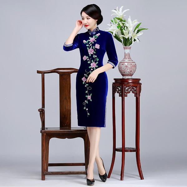 2019 New high quality plus size 3/4 long sleeve velvet embroidery beading red/blue/purple short cheongsam wedding dress evening dress qipao