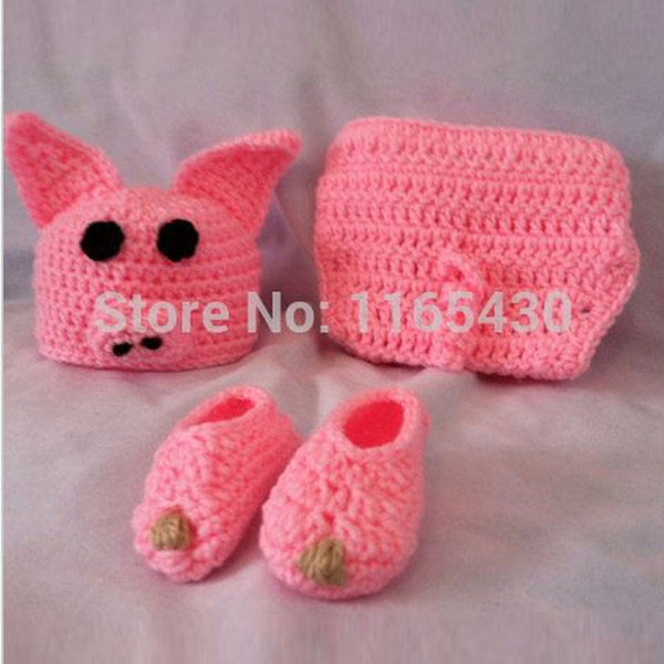 Novelty Adorable Newborn Pink Pig Outfit,Handmade Knit Crochet Baby Boy Girl Animal Pig Beanie,Diaper Cover,Booties Set,Infant Photo Prop