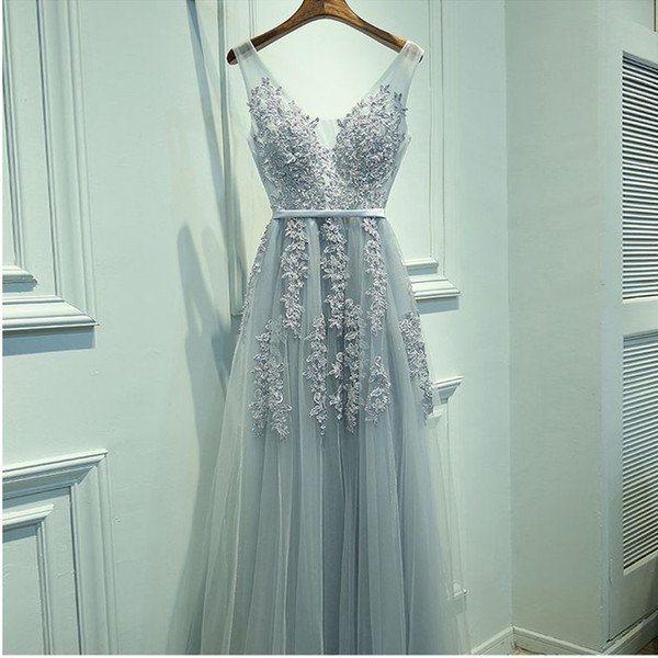 top popular Elegant Dusty Blue Long Tulle Prom Dress A-Line Appliques Beaded V Neck Homecoming Dress Graduation Dress for Party Sheer Straps Prom Gown 2020