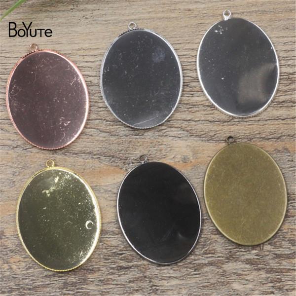 BoYuTe 10Pcs 30 * 40MM Oval Cabochon Base 6 colores plateados diy colgante de metal en blanco bandeja accesorios de la joyería