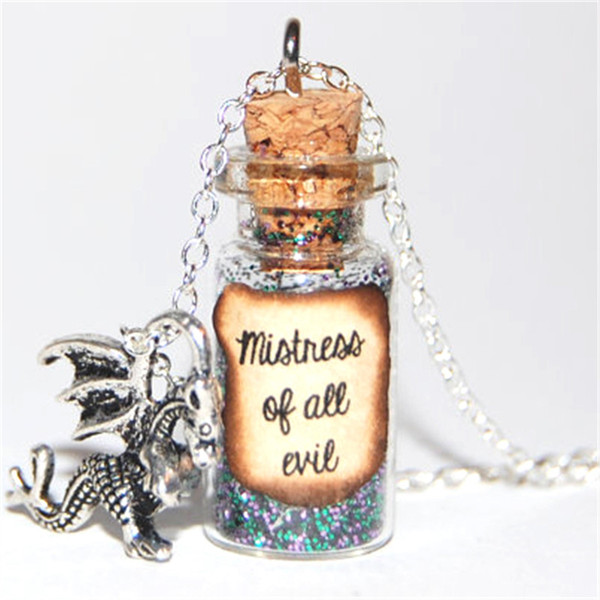 Wholesale Maleficent Handmade Glass Bottle Necklace Mistress Of All Evil Message Silver Necklace Gold Heart Pendant Necklace Owl Pendant Necklace From