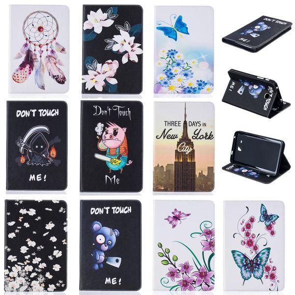 Caja de la tableta para Samsung Galaxy Tab A 7.0 T280 T285 2016 Funda Cartera Funda de cuero con ranura para tarjeta de pintura Mariposa