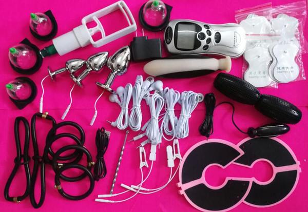 DHL bdsm electro shock giocattoli del sesso bondage gear kit dispositivo di shock elettrico terapia penis plug anello anale plug stick pad per le donne degli uomini
