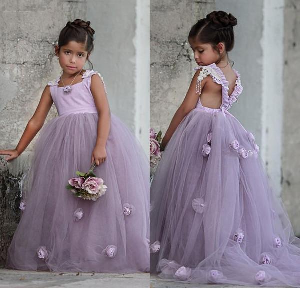 2017 Nova Festa de Lavanda Formal Vestidos Da Menina de Flor Princesa Pageant Vestidos de Flor Quadrado Trem Real Crianças TuTu Saias para Casamentos