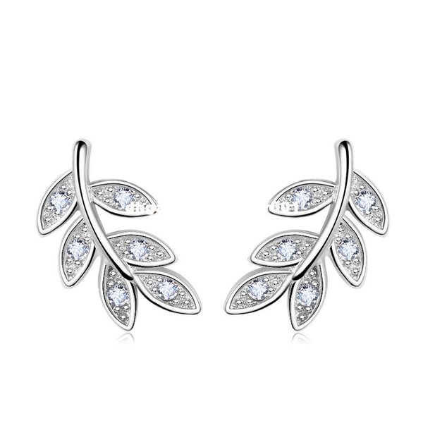 PATICO 2017 New Simple Fashion 925 Sterling Silver Leaf Olive Branch Stud Earrings Prevent Allergy Brincos Piercing Ear Jewelry