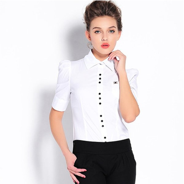 2017 Women body Shirt White Black Blusas Femininas Turn-down collar Bussiness Wear Blouse puff sleeve button Casual bodysuit