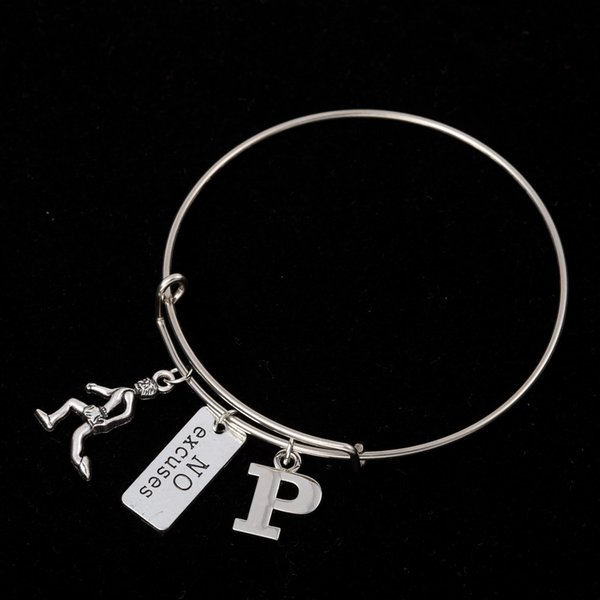 Myshape Cool Fashion Stainless Steel DIY Charms Bracelet Running Man No Excuses Sign Letter P Pendant Bangle Wristbands For Special Friend