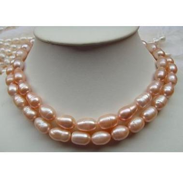 Elegant 11-13mm natural south sea pink pearl necklace 35 inch 14K gold clasp