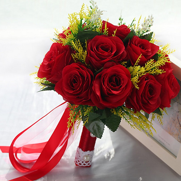 Red Roses Artificial Wedding Bouquets For Women 2017 Pearls Leaf ...