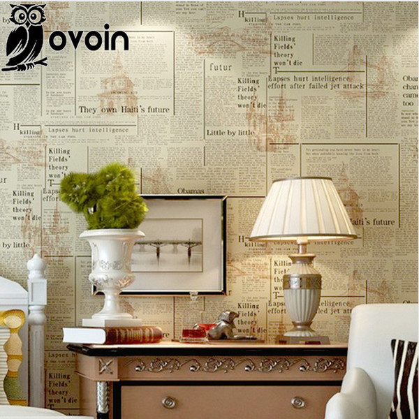 Beige vintage english letters wallpaper roll pvc newspaper wall paper home decor for bedroomliving