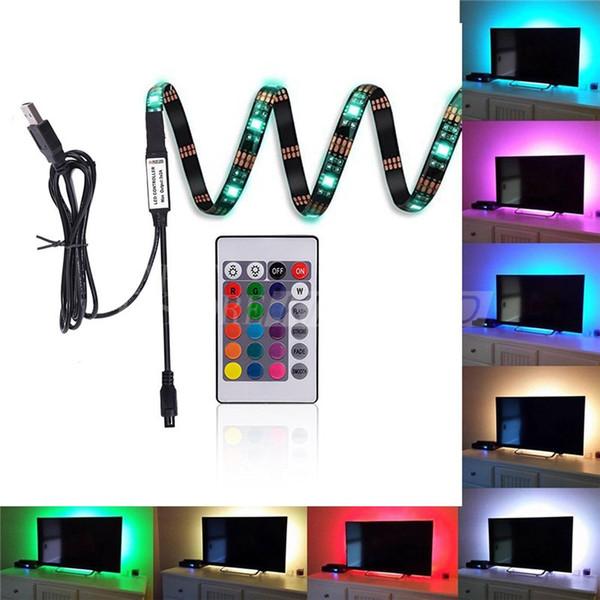 Vier Streifen 5050 USB LED Streifen Hintergrundbeleuchtung RGB Lichter mit Fernbedienung für HDTV Flachbildschirm TV Zubehör und Desktop PC Multi Color