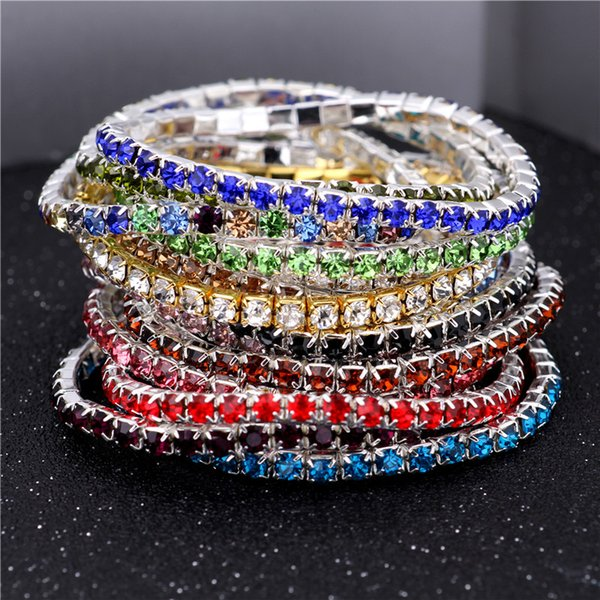 best selling 3.6mm 1 Row Rhinestone Crystal Bracelets Stretch Bracelet Bangle Cuffs for Women Wedding Jewelry Gift 16 Colors 162064