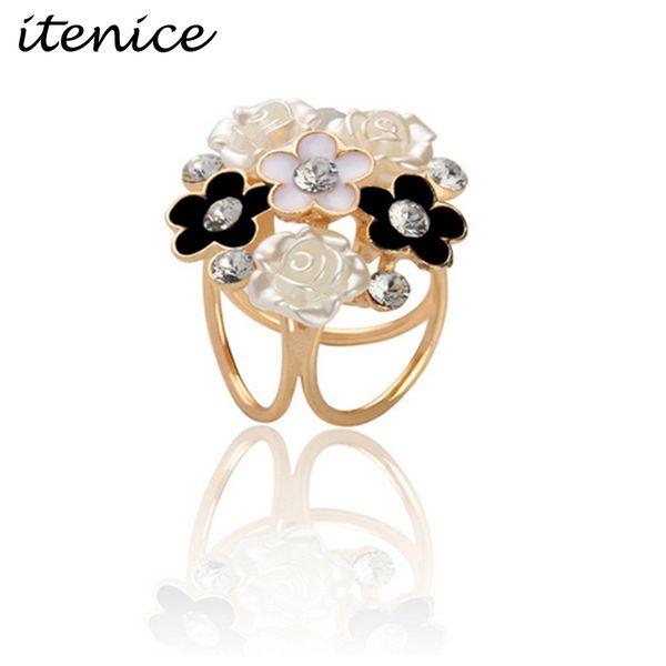 Wholesale- 2017 New Fashion Design Jewelry Flower Metal Trendy Crystal Rhinestone Acrylic Gold Plated Scarf Buckle Brooch Pins