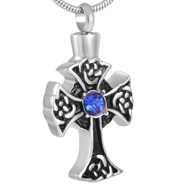 IJD8431 High polishing 316l stainless steel celtic cross memorial pendant ashes necklace pets cremation urn jewelry