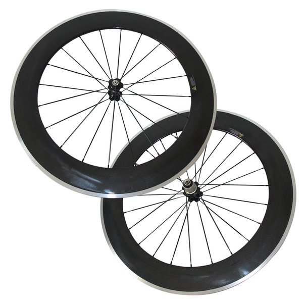 New Arrival 80 mm Clincher Road Bike Wheels Carbon Alloy brake track Road Bicycle Wheelset 3K Glossy Cheap Wheels