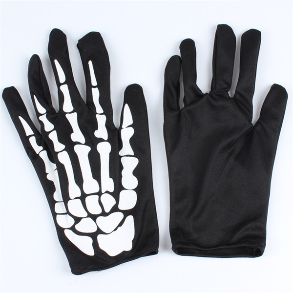 Halloween Supplies All Saints Day Props Ghost Clothes Matching Gloves Scary Skeleton Gloves cloth Solid Halloween Performing gloves IB380