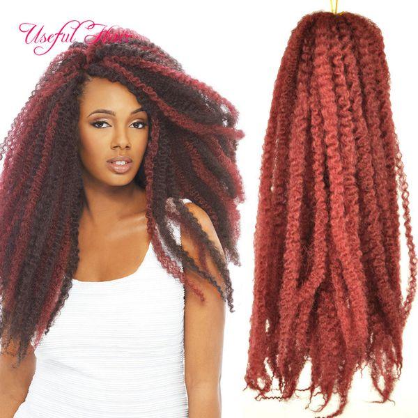 30strands/pcs 18inch Afro kinky curly hair extension synthetic crochet braids kanekalon braiding hair for black women marley twist