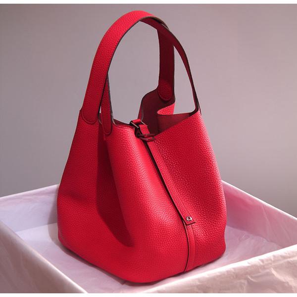 2016 moda primeira camada de sacos de balde de couro mulheres genuíno couro lichee bolsa sacola feminina