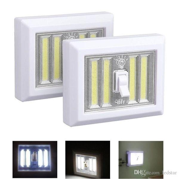 8W Battery Operated LED Night lights COB LED Cordless Light Switch Under Cabinet Shelf Closet Night light & Kitchen RV & Boat