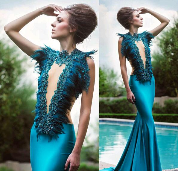 2017 Sexy Feather Prom Dresses Mermaid Jewel Neck Sleeveless Satin Sweep Train Formal Evening Gowns For Women