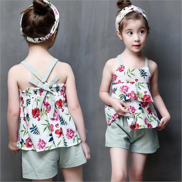 Summer Fashion Baby Girls Clothes Children Outfits Cotton Camisole Little Floral Tops + Pants 2pcs Sets Kids Clothing