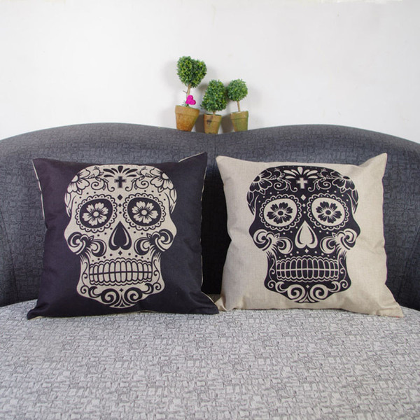45x45cm Skull Style Cotton Linen Cushion Skeleton Skull Print Home Decor Cushion Bed Car Throw Pillows Decorative Cojines - With Inner