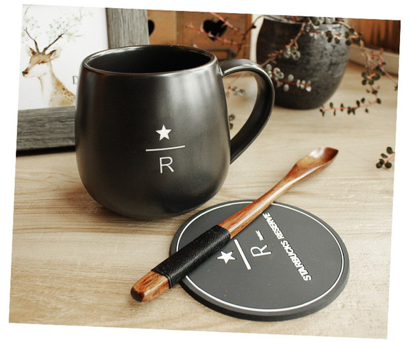 Classic Starbucks Reserve Cup Black Matte Carving R Letter Ceramic Coffee Mug 16oz With Wooden Spoon Coaster Big Belly Cup Same Day Personalized Mugs
