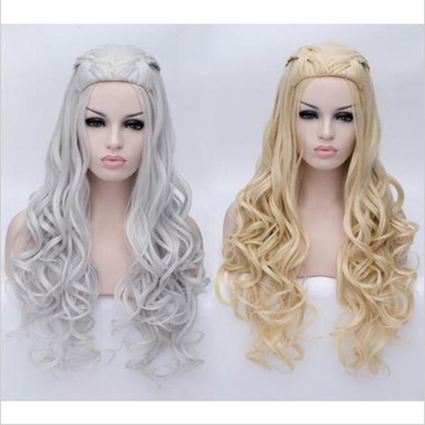 New!! Game of Thrones Daenerys Targaryen Cosplay Wig Braided Long Curly Anime Wigs Daenerys Hair Women Costume Wig Free Shipping