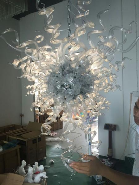 Fuente led 100% soplado a mano de vidrio borosilicato dale chihuly murano arte colgante de cristal transparente elegante decoración para el hogar