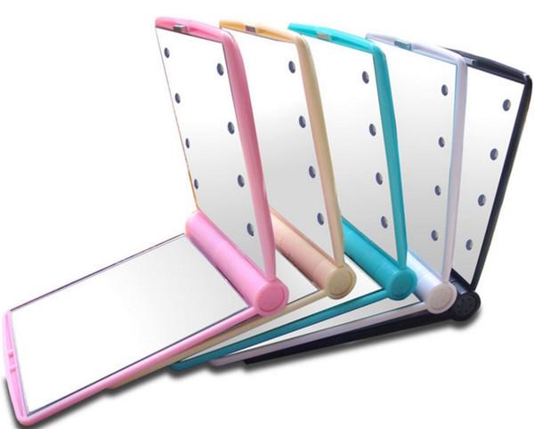 Espejos de LED Mini portátil plegable compacto Cosmético de mano Maquillaje espejo de bolsillo con 8 luces LED para mujeres niñas Dama