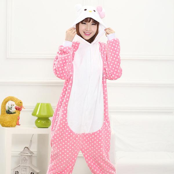 Flannel Winter Warm Pyjamas Cartoon Couple Animal Hello Kitty Pink Cute Coral Velvet Pajamas Siamese Pajamas Men Women Sleepwear