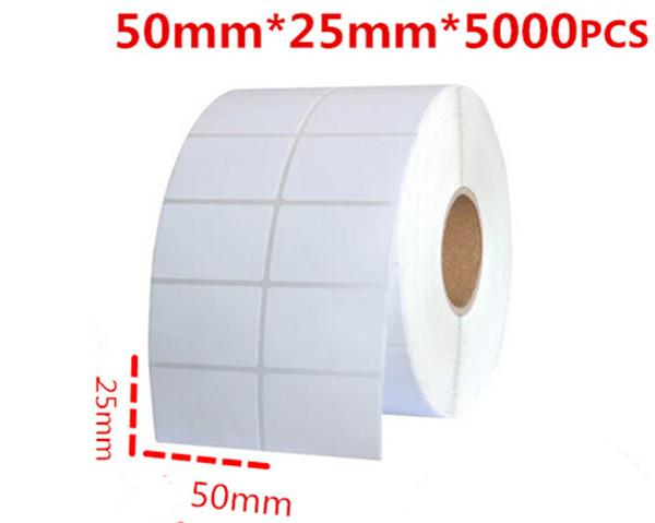 free shipping 50*25mm 5000pcs/roll blank or white office paper barcode self adhesive sticker label for printer