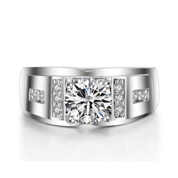GALAXY 100% 925 Sterling Silver Men Luxo 0.6ct CZ Anéis de Noivado de Diamante Para Anéis de Casamento Dos Homens do amante