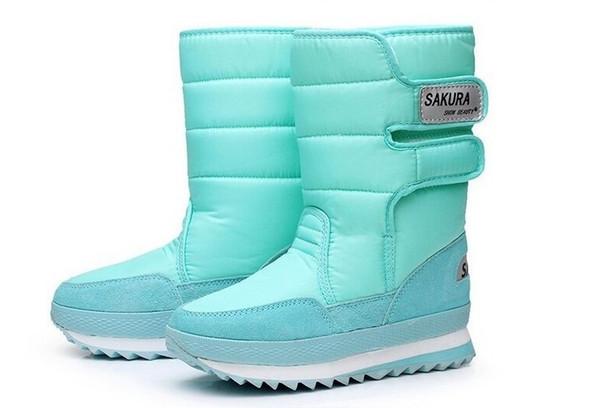 En gros-Livraison Gratuite Femmes Bottes D'hiver 2016 Nouveau SAKURA En véritable tube à fond épais chaussures de neige chaude imperméable bottes de neige anti-dérapant