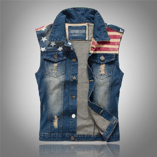 Atacado- 2017 New Jeans rasgado Vest Men América Bandeira Blue Jeans Colete sem mangas Cowboy Jeans Jacket Men sem mangas M - 3XL, PA071
