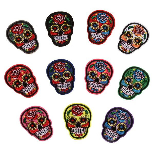 best selling 11 DESIGNS Rose Suger Skull Embroidery Patches Clothing Pastes Skull Stickers Wallet Bag Patches free shipping
