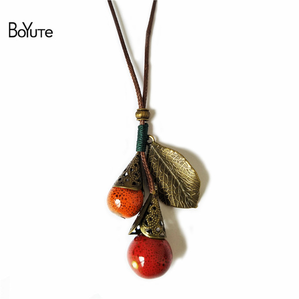 BoYuTe (5 Pieces/Lot) 70CM Length Vintage Style Hand-Knitted Ceramic Bead Leaf Pendant Necklace Accessories for Women