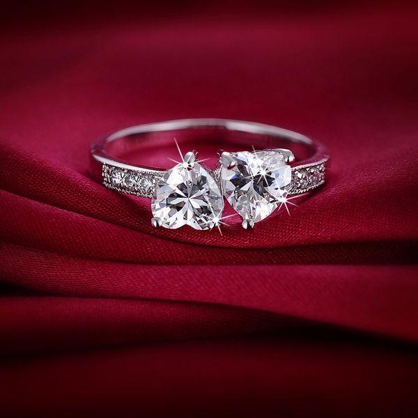 Para sempre design clássico anel de casamento Amor 18K real Branco Plated CZ Duplo Hears promessa anéis para Mulheres para Enagement para o casamento
