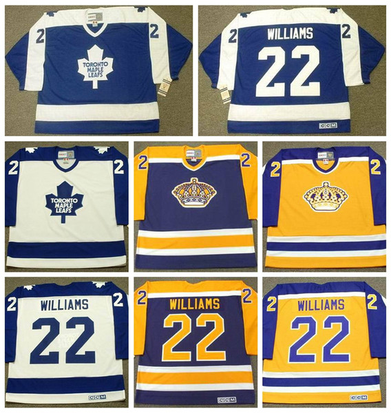 Vintage Los Angeles Kings Tiger Williams Hockey Jersey Vintage CCM Classic Toronto Maple Leafs 22 Tiger Williams Stitched Jersey Cheap