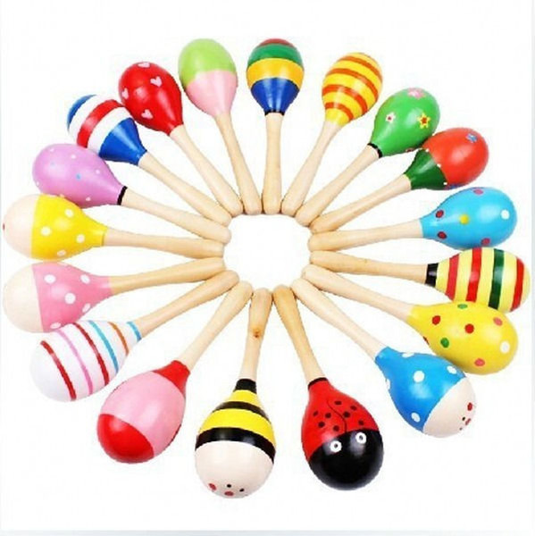 Colorful Wooden Maracas Baby Child Musical Instrument Rattle Shaker Party Children Gift Toy free shipping