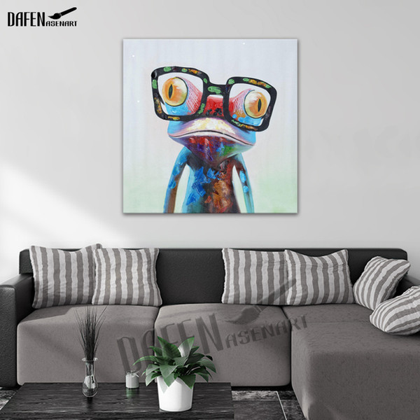 best selling Happy Frog Wearing Glasses Cartoon Animal Handpainted Oil Painting on Canvas Modern Abstract Wall Art Bedroom Decoration