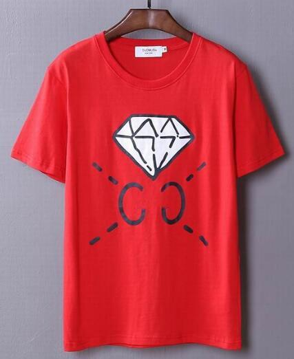 2017 Elmas Baskılı T-Shirt Adam Casual Polo gömlek Üst Tees Yeni Erkekler T Shirt Yaz Moda O-Boyun Kısa Kollu