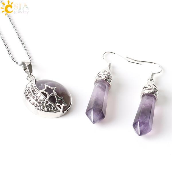 CSJA Bohemian Natural Gem Stone Jewelry Sets Moon Stars Pendant Necklace Hook Dangle Drop Earrings Opal Amethyst Summer Beach Jewellery E385