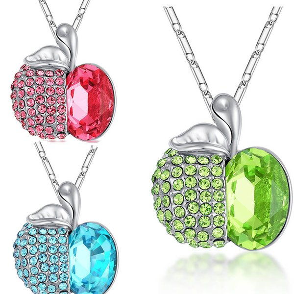 Fashion apple Shaped Pendants Necklaces Crystals From Austria Romantic Collars For Girlfriend Mum gifts fruit pendant necklace