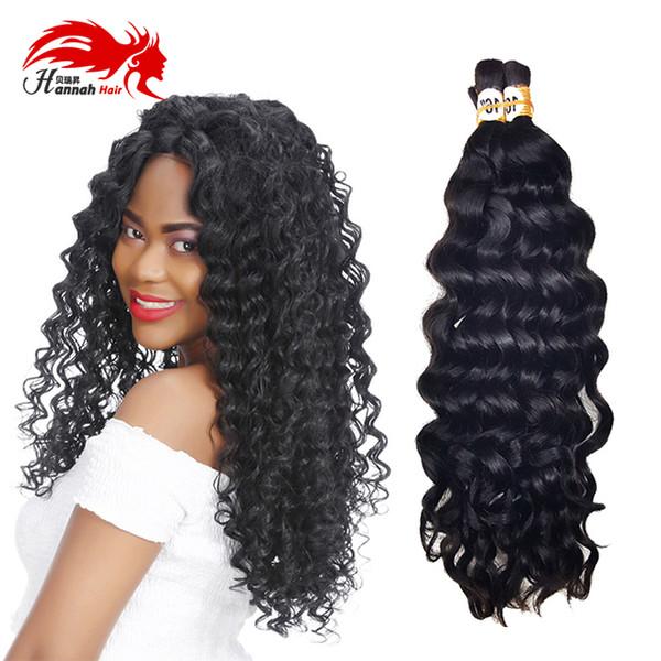 top popular Human Bulk Hair for Braiding No Attachment Mongolian Afro Deep Curly Crochet Braids 3 Piece Natural Black Virgin Remy Hair Bulk 2019