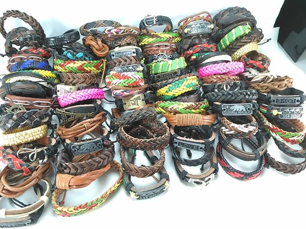 100 pcs/ lot mixed styles surfer cuff ethnic tribal retro leather bracelets fashion jewelry