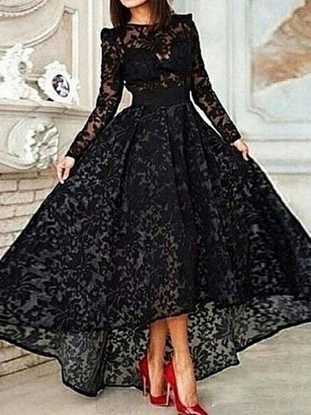 Hot Sale Black Lace Evening Dresses Long Sleeves 2017 O Neck Mermaid Short Front Long Back Woman Formal Gowns Dress