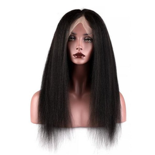 Fashion human hair wig 1b kinky straight virgin mongolian lace front wig for black women free shipping